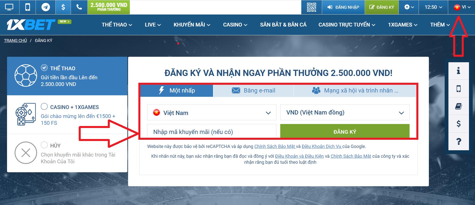 Đăng ký Tài khoản tại 1xBet Việt Nam như thế nào?